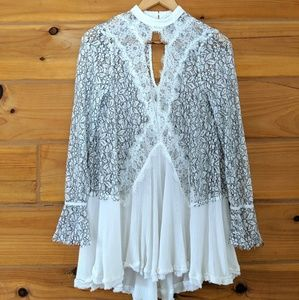 Free People Tell Tale White Lace Tunic Dress